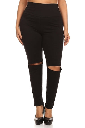 Black Slit Knee High Waist Leggings