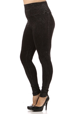Black Wash High Waist Leggings