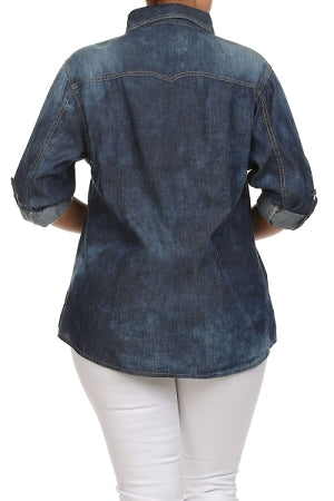 Dark Blue Bleach Denim Top
