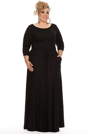 Black 3/4 Sleeve Gabby Maxi Dress
