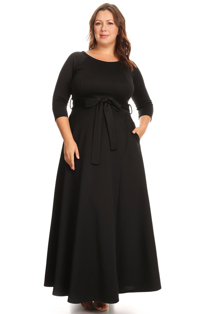 Black Emily Belted Gown