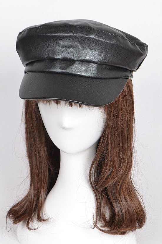 Black Captain Faux Leather Hat