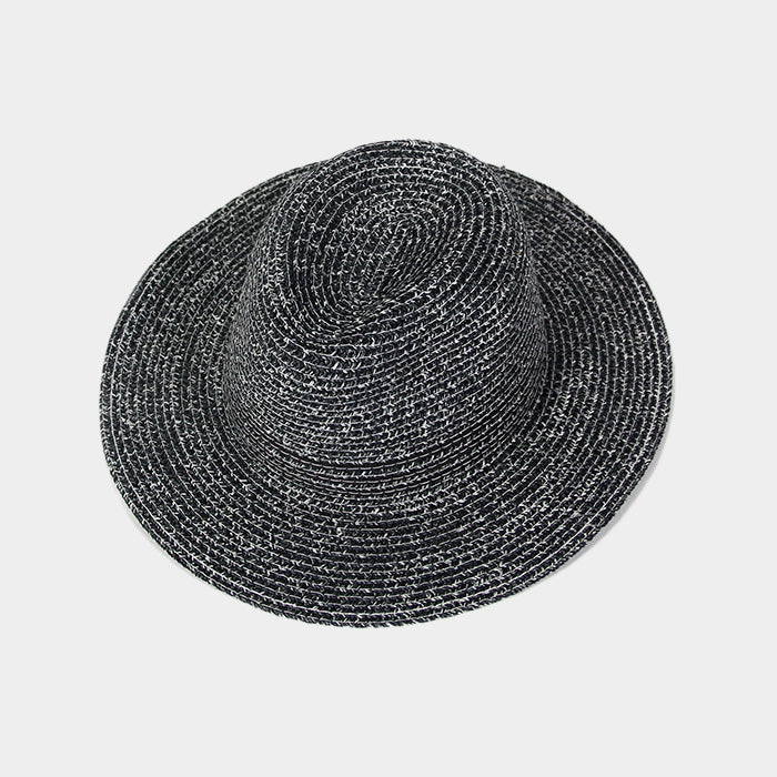 Black Striped Straw Fedora Hat