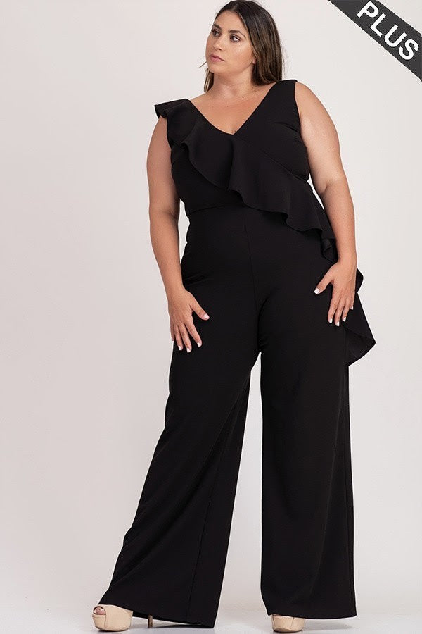 Black Martina Ruffle Jumpsuit