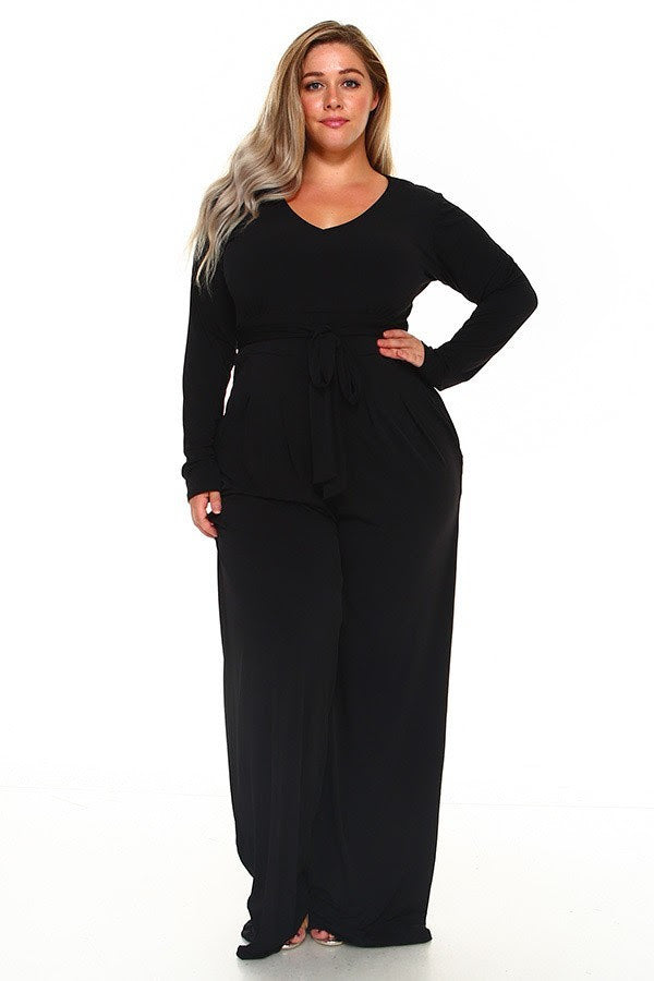 Black Sherry Belt Jumpsuit