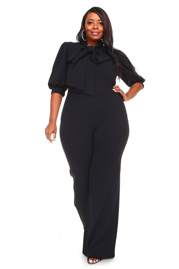 Black Destinee Bow Tie Jumpsuit