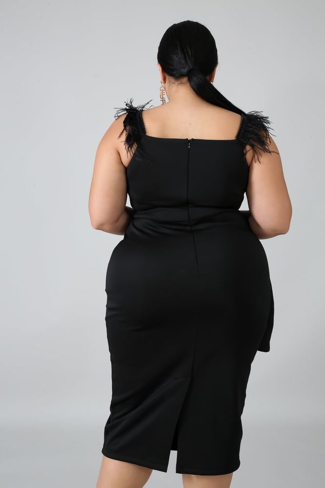 Black Feather Peplum Dress