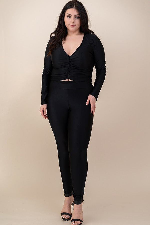 Black Ruched Legging Set