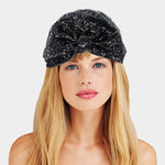 Black Sequin Knotted Turban Beanie Hat