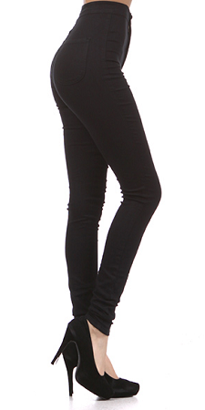 Black Basic Hi Waist Jeans