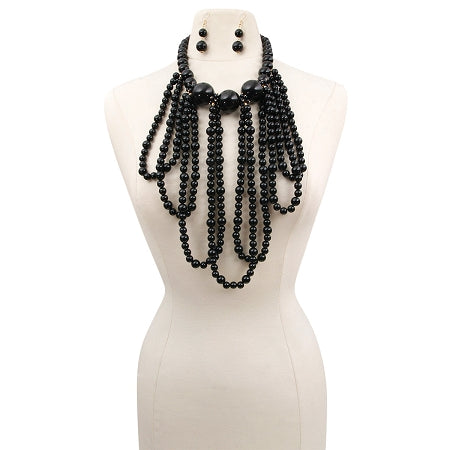 Black Pearl Long Draping Necklace Set