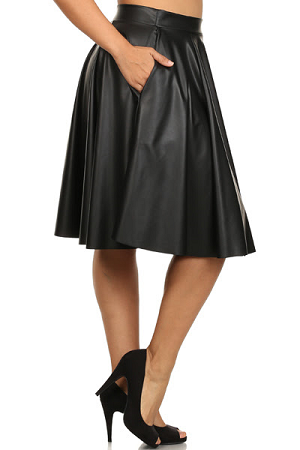 Black Pleated Faux Leather Skater Skirt