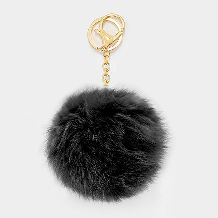 Black Pom Rabbit Fur Keychain Charm