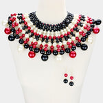 Black,Red & Ivory Pearl Bib Choker Necklace