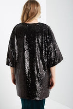 Black Sequin Open Duster