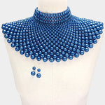 Blue Pearl Armor Bib Necklace