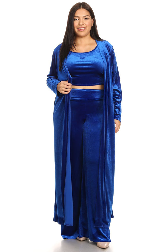 Royal Blue Baylee Velvet Pant Set