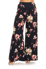 Navy Flower Print Flare Pants