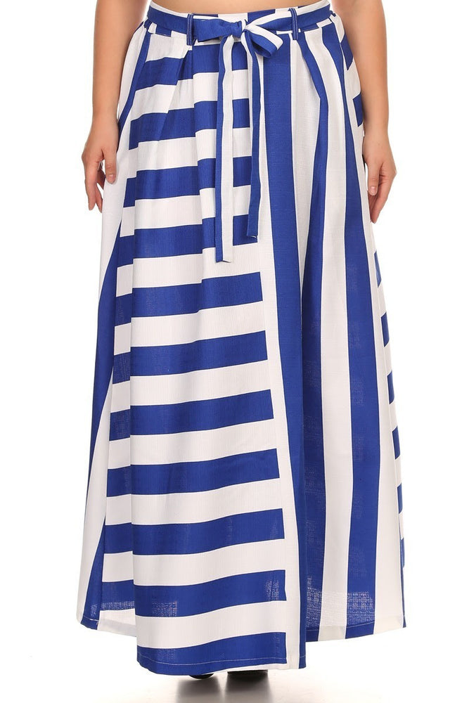 Blue Pinstripe Maxi Skirt