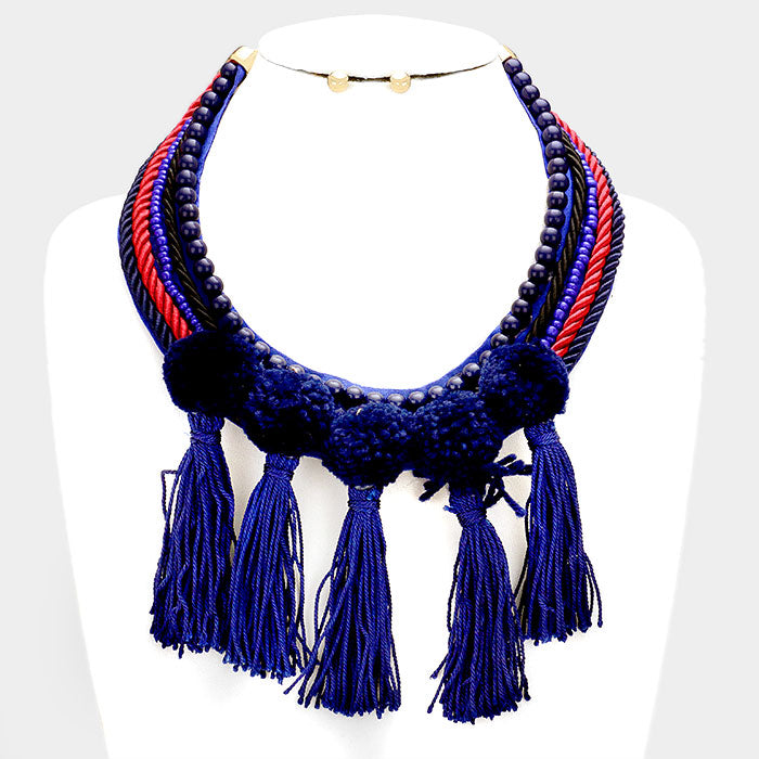 Navy Tassel Rope Necklace