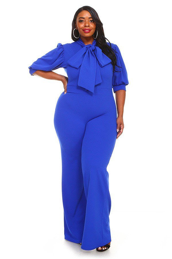 Royal Blue Destinee Bow Tie Jumpsuit