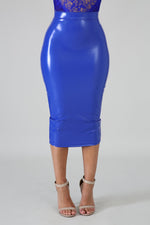 Blue Liquid Pencil Skirt
