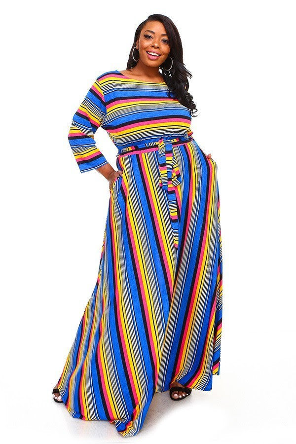 Extended Size Blue Stripe Gabby Maxi Dress