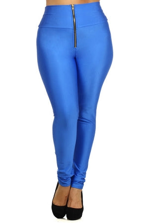 Blue  Disco Zipper Leggings