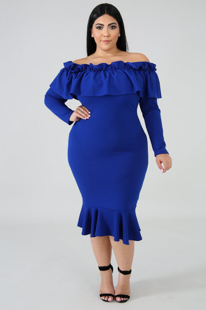 Royal Blue Malaysia Ruffle Dress