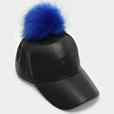 Blue Pom Pom Basketball Cap