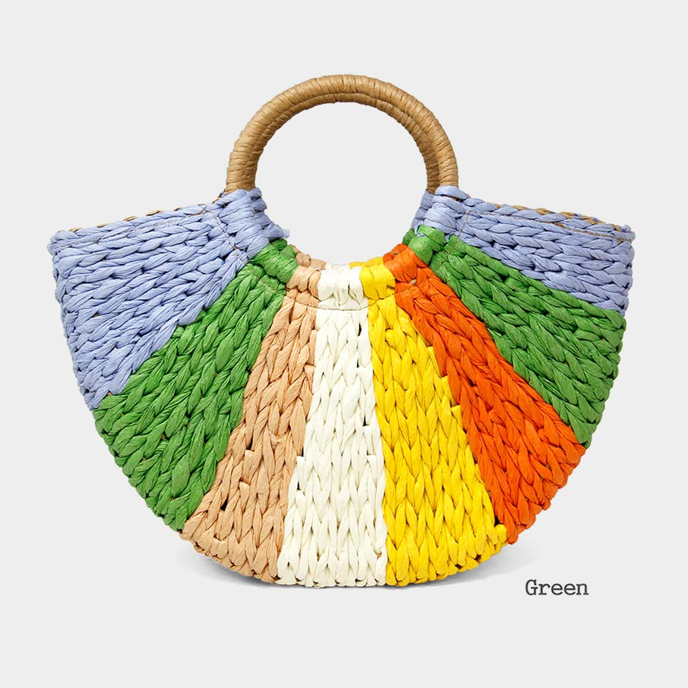 Green Multi Straw Tote Bag