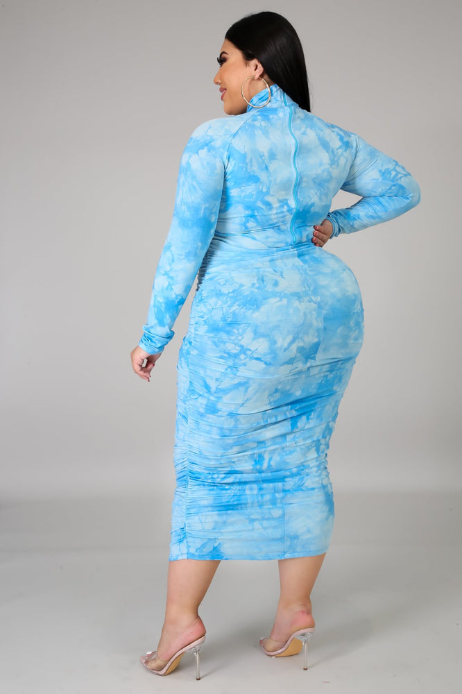 Blue Ruched Body-Con Dress