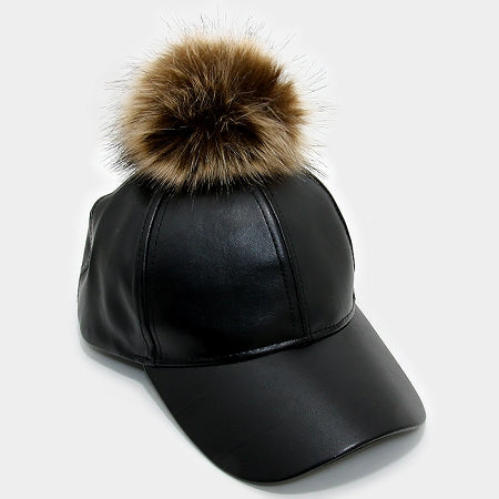 Brown Pom Pom Baseball Cap