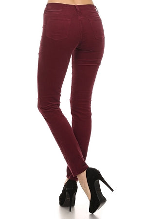 Burgundy Knee Ripped Corduroy Jeans
