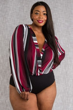 Burgundy Stripe Bodysuit