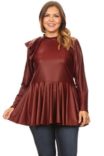 Buurgundy Faux Leather Peplum Top