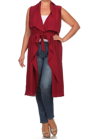 Burgundy Open Front  Duster