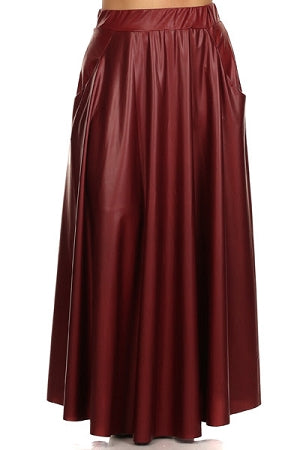 Burgundy Faux Leather Maxi Skirt