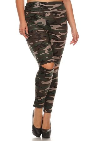Camouflage High Waist Slit Leggings