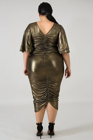 Parker Gold Ruch Dress