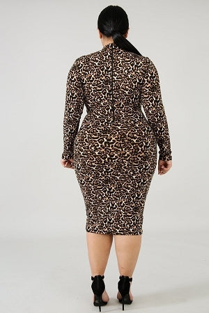 Catty Leopard Turtleneck  Dress