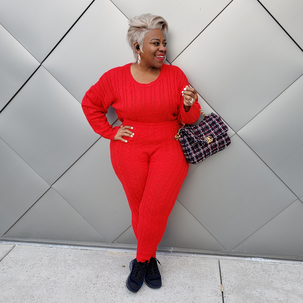 Red Cable Knit Sweater Set