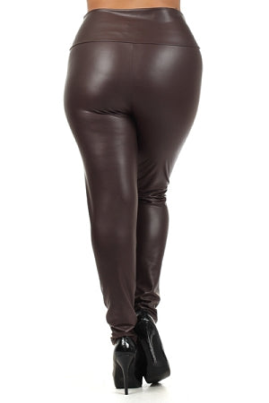 Chocolate High Waist Faux Leather Leggings
