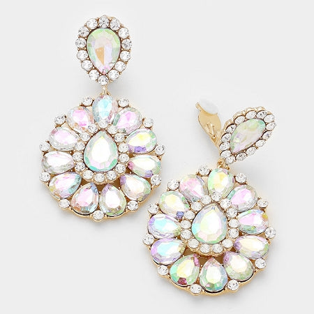 Iridescent Rhinestone Teardrop Clip Earrings