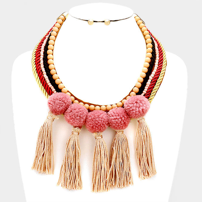 Tan Tassel Rope Necklace