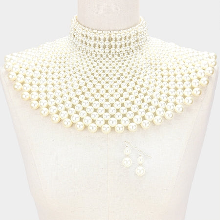 Cream Pearl Armor Bib Necklace