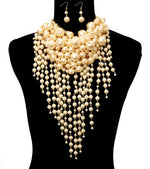 Cream Tone Chunky Pearl Necklace Set