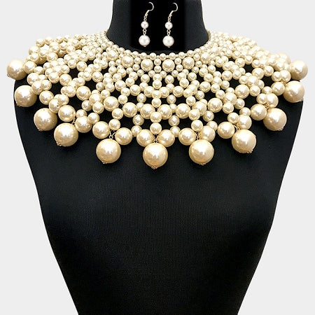 Cream Pearl Bib Choker Necklace