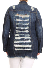 Dark Blue Shredded Back Denim Jacket