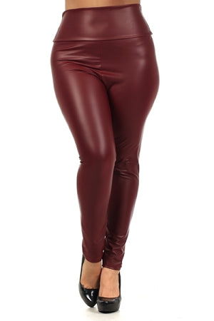 Burgundy  High Waist Faux Leather Leggings